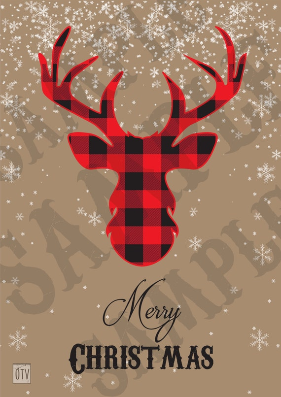 New** Rustic - Winter - Buffalo Check - Deer - Christmas - Party - Sign - Welcome - Holidays - PRINTABLE - Pdf - Digital - Instant Download