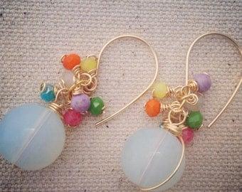 Moonstone Multi Color Crystals Chandelier Earrings