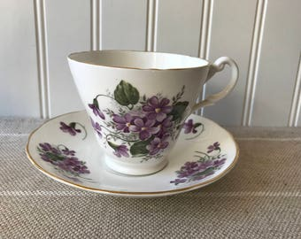 Vintage Tea Cup, English Stafforshire China, Cup and Saucer, Made in England, Purple Violets, Violettes, Cottage Chic, Vintage Tea Party