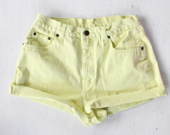 "Size 29"" | Neon Light Green Cut Off High Waisted Shorts"