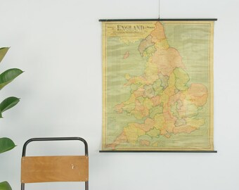 Vintage Antique Wall Hanging Map of England and Wales