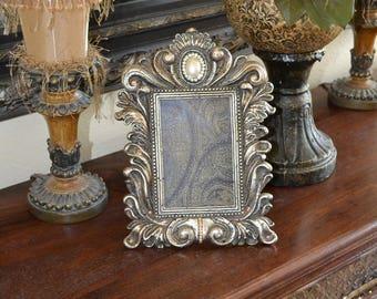 4 x 6 Ornate Frame Embellished w/Crystal Brooch & Swarovski Crystal Accents