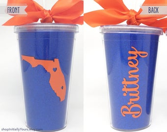 Personalized Florida Gators Cup, Custom Tumbler, UF Gators, Orange & Blue, Tailgate Football Cup, Gators Gift, Graduation Gift