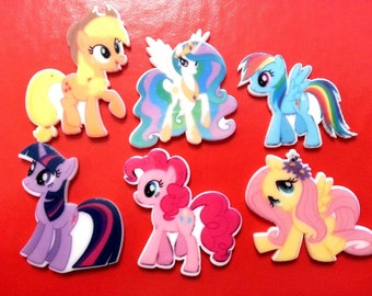 Only .40 each! 12 pcs. MY LITTLE PONY Planar flatback resins Hair bow centers 32mm