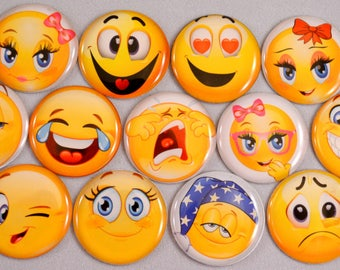 "13 pcs. EMOJIS cabochon flatbacks Hair Bow Centers 1"" diameter EMOTICON SMILEY face. Embellishments"