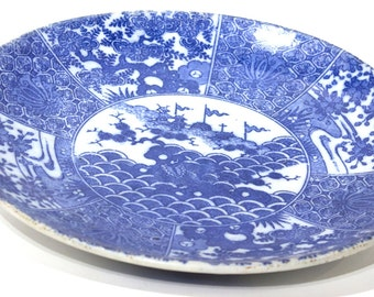 Authentic Japanese Blue and White Plate - FREE SHIPPING