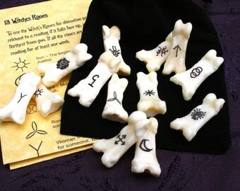 Bone Witch/Gypsy Runes - Engraved Divination, Psychic Reading, Druid, Wicca