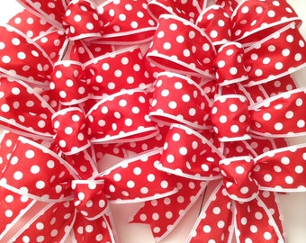 Christmas Tree Bows / Polka Dots Bows / Red and White Decorative Bows / Small Bows / Set of 12  / Handmade and Design in Wired Ribbon