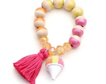 Tropical Sno Cone Charm and Tassel Hand Painted Bracelet - Sweet Treats Collection - Ice Cream Bracelet - Summer Bracelet