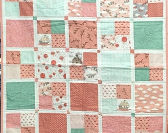 In the clouds children patchwork blanket