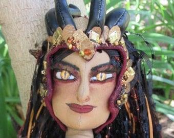 OOAK cloth art doll, Dragon Queen