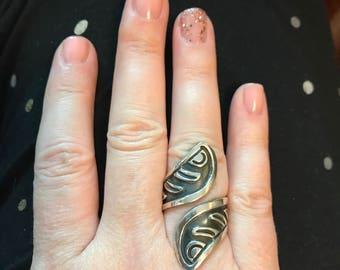 Sz. 8 adjustable, Handmade Sterling Silver Wrap Ring
