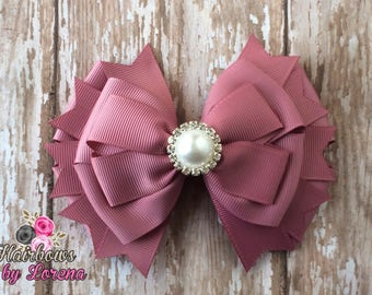 Colonial Rise Layered Hairbow with Pearl Rhinestone Center