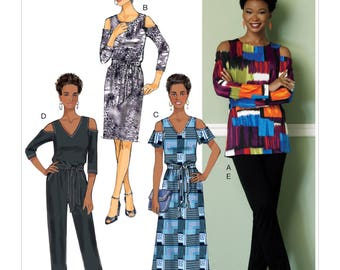 Butterick B6425 Misses' Cold-Shoulder Top, Dress and Jumpsuit, Pull-On Pants, and Sash