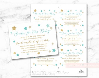 Twinkle Star baby shower book request cards printable, books for baby insert, bring a book instead of a card DIY, INSTANT DOWNLOAD, 006