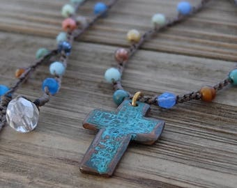 Boho Cross Necklace, artisan copper cross necklace, colorful boho knotted crochet necklace, spiritual religious bohemian hippie chic jewelry