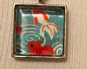 handmade japanese koi print necklace