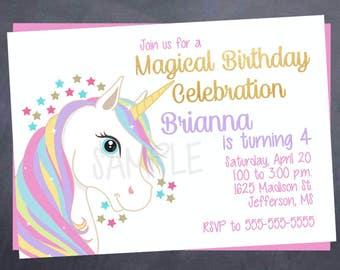Printable Unicorn Birthday Invitation - 5x7 - Unicorn Birthday Party - Magical - Fairy Tale