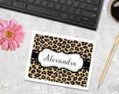 Leopard Print Note Cards - Leopard - Cheetah Print Note Cards - Personalized Gift - Notecards - Thank You Notes, Monogrammed Cards