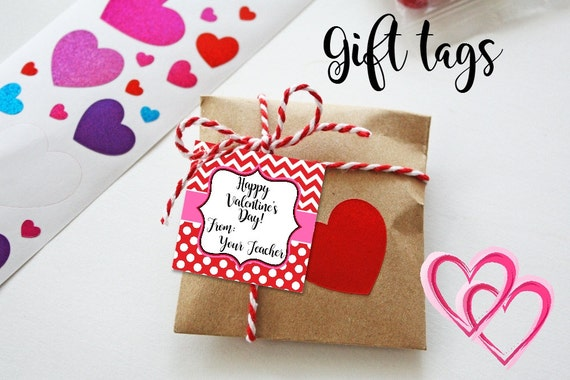 Valentine Cards - Printable - Valentine's Tags - Chevron Print - Red Chevron - Gift Tags - Dots