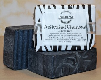 Charcoal Soap, Unscented Soap, Face Soap, Activated Charcoal, All Natural Soap, Handmade Soap, charcoal