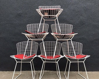Vintage Knoll Bertoia Chairs in white