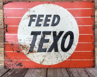 Vintage Original Feed Metal Sign -Advertising Seed Ag Feed - Ag Farm Embossed
