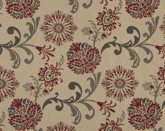 Red Gray And Beige Floral Foliage Woven Solution Dyed Indoor Outdoor Upholstery Fabric By The Yard | Pattern # A0120A