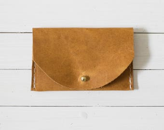 Cognac Leather Card Wallet, Card Holder, Small Pouch, Business Card Case
