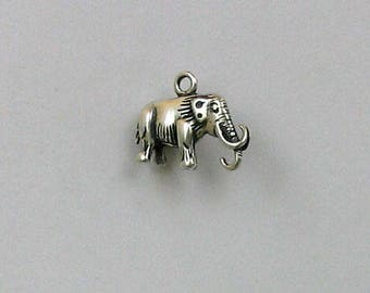 Sterling Silver 3D Woolly Mammoth Charm