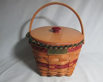 Longaberger  Jingle Bell Basket hand woven wooden with lid, stripe liner, protector, Christmas Collection 1994, #17906
