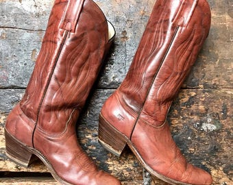 Vintage Frye Western Boots Vtg Dusty Red Leather Cowboy Boots Men's Size 10D