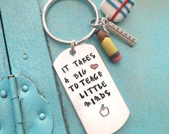 Teacher Keychain, Teacher Gift, Teacher Appreciation Gift, Teacher Gift Ideas, Hand Stamped Keychain, Christmas Gift For Teacher