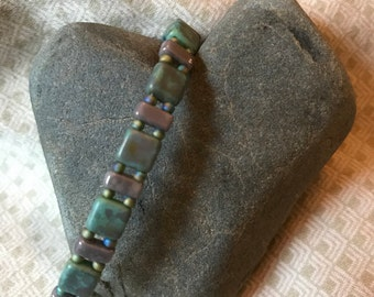Leather and Tila Handmade Bracelet
