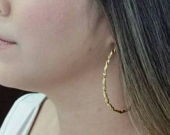 Stainless Steel Hoop Earring, Donut, gold color plated