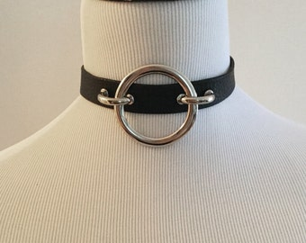 The NYMPHETTE Collar: Black Leather Choker with O Ring - Kitten, Goth, Slave, Nugoth, Minimalist, Industrial, BDSM