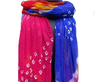 Tie and dye scarf/ multicolored  scarf/ pom pom  scarf/ chiffon scarf/ fashion  scarf/ gift scarf / gift ideas.