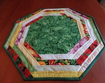 Basil Table topper, Octagonal Table Mat, Herb Table Mat, Basil Table Mat