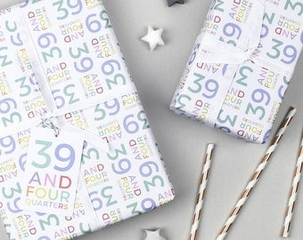 39 And Four Quarters Wrapping Paper Set, 40th Birthday, Gift Wrap