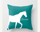 BLACK FRIDAY Personalized Horse Throw Pillow Cover Teal Horse Decor Horse Pillow Home Decor Living Room Bedroom Couch Cushion Decorative Pil