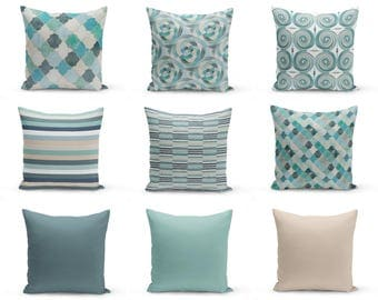 Outdoor Pillows,Blue Beige Seafoam Teal Aqua, Outdoor Home Decor, Outdoor  Throw Pillows