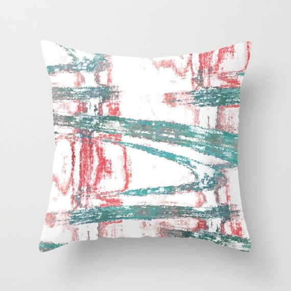 Dark Coral Throw Pillows : Decorative Pillow Cover Teal Dark Coral Red Home Decor