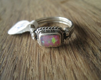 Sterling Silver Braided Fire Opal Doublet Ring 8 (54)