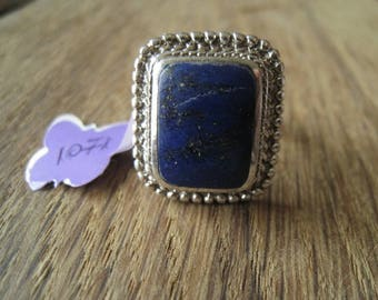 Sterling Silver Lapis Lazuli Braided Square Ring 7.75 (1071)