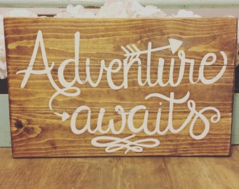 Rustic | Adventure Awaits | Hand painted sign | farmhouse style | gallery wall | | family sign | handmade