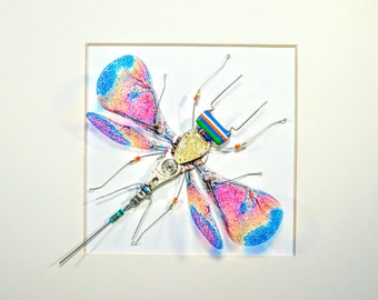 Computer Bug - Chip bug -  Circuit Board Bug - Framed Art - Recycled Circuit Board - Geek Gift - Home Decor - Flying Bug -  Techie
