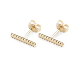 Simple flat bar studs earrings in solid 14k gold, yellow rose white gold, 10mm bar, tiny small bar studs, minimalist earrings, bar-e107