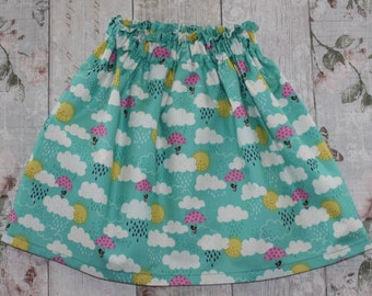 Peedie Boo Gathered Skirt..........Bird and Clouds