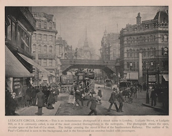 London, England, 5 Prints of 1892 Photographs, Trafalgar Square, Piccadilly, Somerset House and Victoria Gardens, Bank of England, Ludgate
