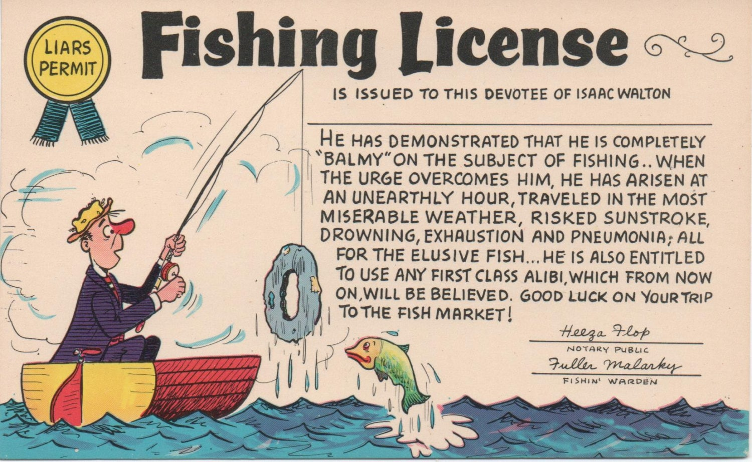 Comic fishing license postcard c1988 good shape 2 copies 1 for Fishing license illinois